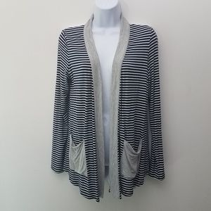 Skies are Blue Cardigan Open Front Gray Blue White